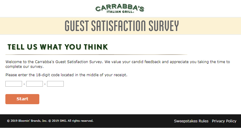 Carrabba's Italian Grill Guest Satisfaction Survey