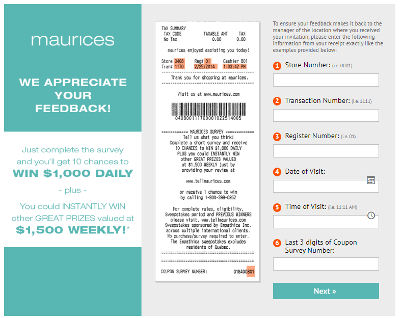 Maurices Customer Feedback Survey