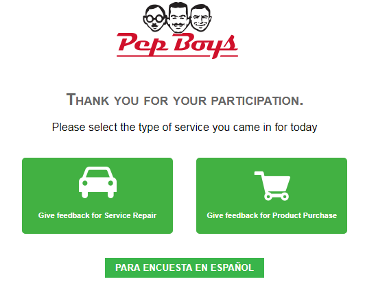 Pep Boys Customer Feedback Survey