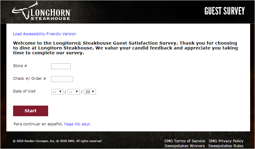 Longhorn Steakhouse Customer survey