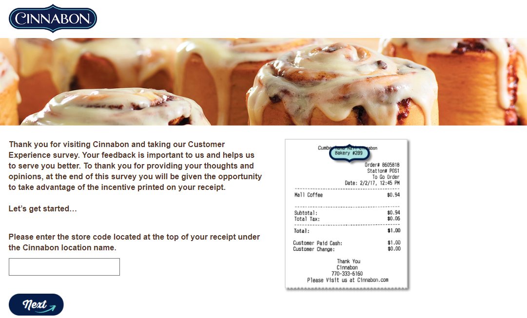 Cinnabon Guest Satisfaction Survey